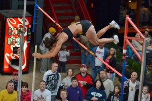 Vera Schmitz clears the bar at Vault in the Ville.